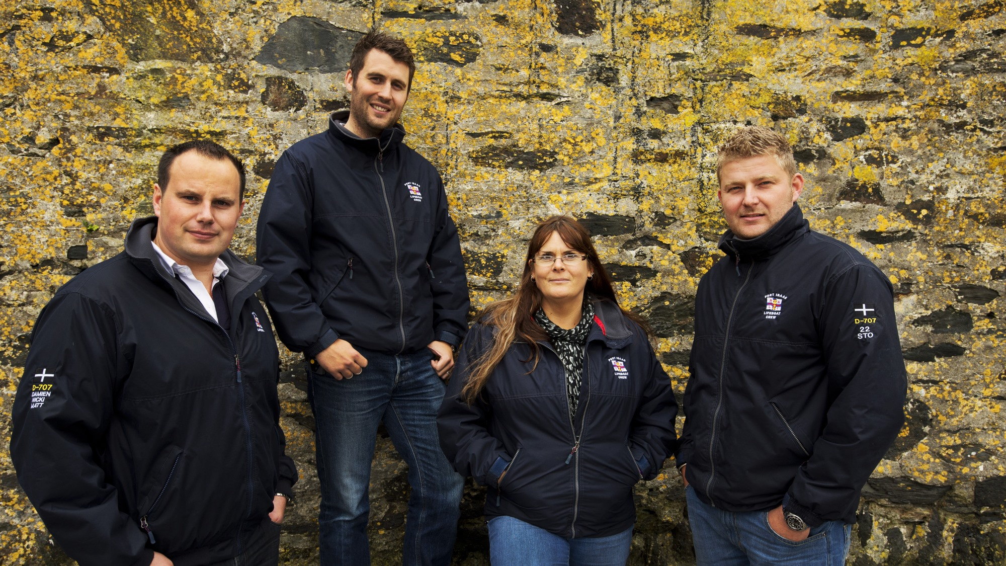 Left to right: Paul Sleeman with his rescuers – Port Isaac RNLI Crew Members Matthew Main, Nicola-Jane Bradbury and Damien Bolton.