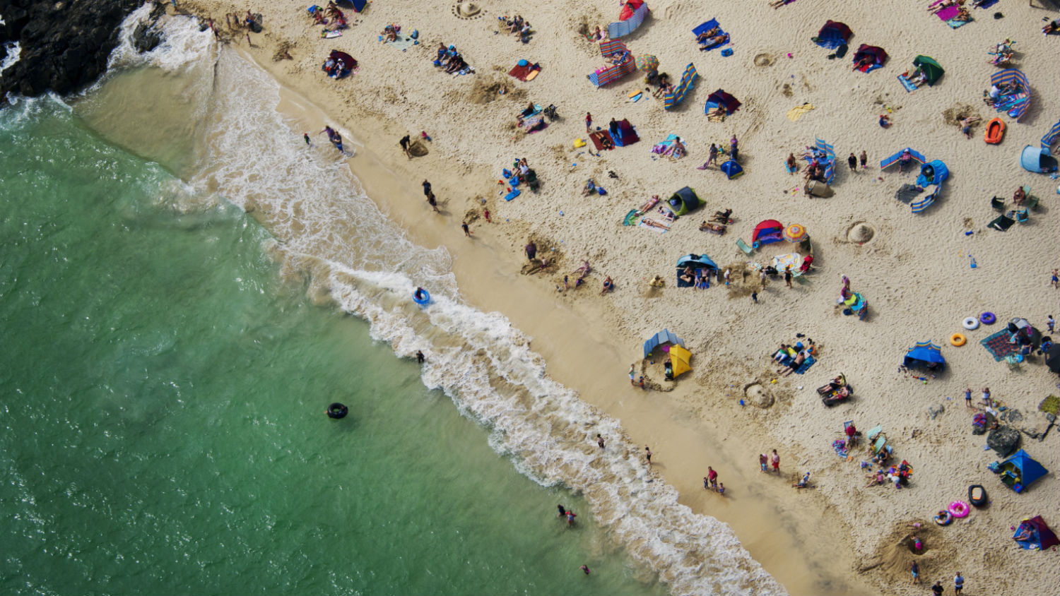 Aerial view of a busy beach