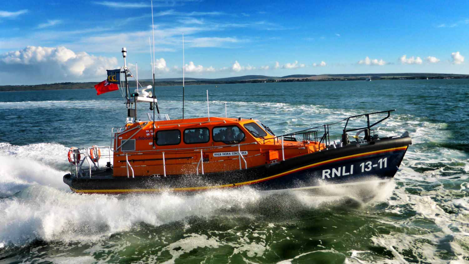 St Ives' Shannon class lifeboat Nora Stachura during trials.