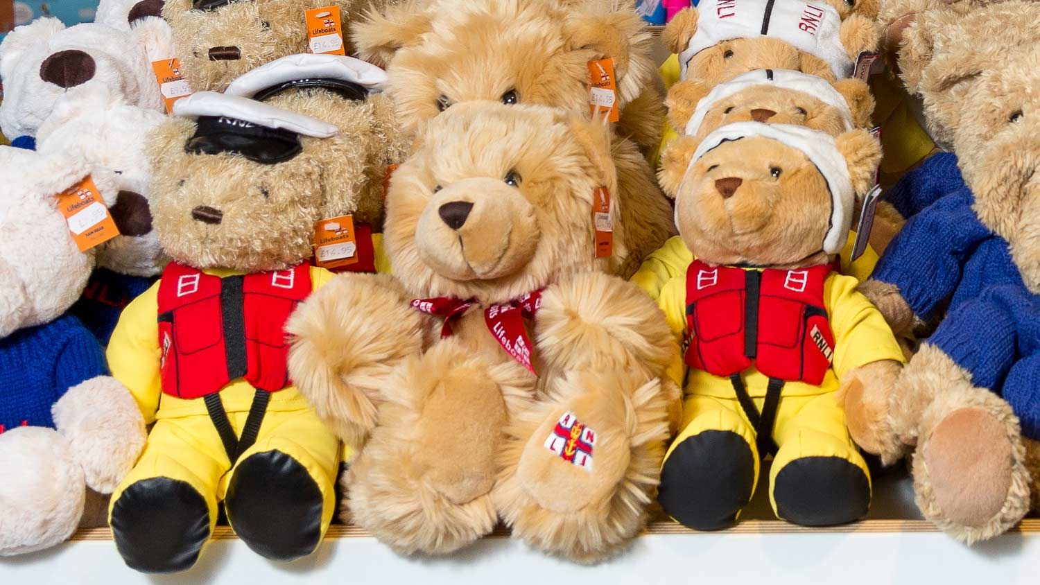 RNLI teddy bears on display at RNLI College shop in Poole