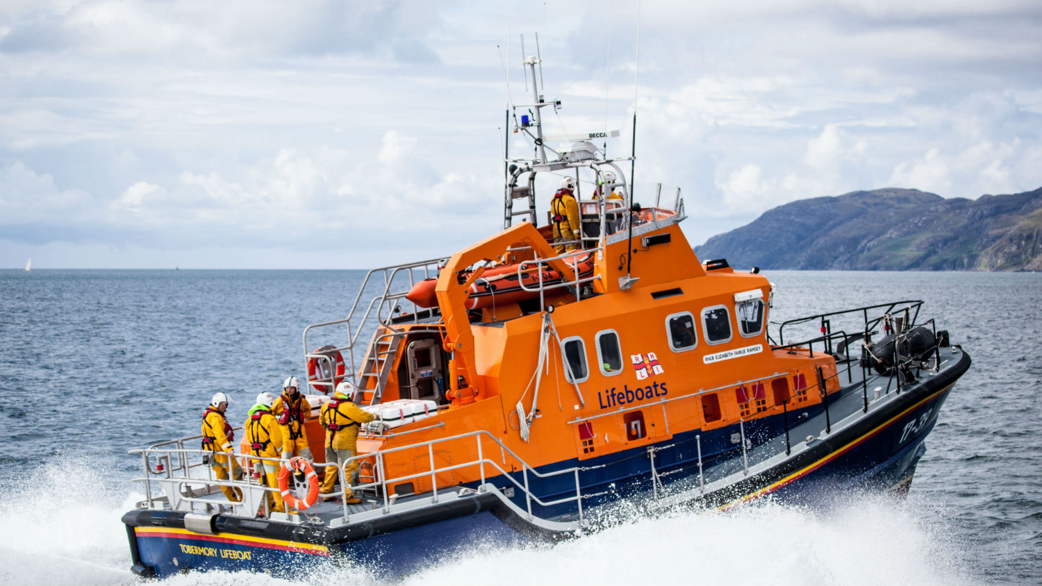 Toberymory's Severn class lifeboat powering through waves