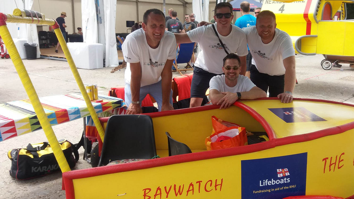The Red Bull Soapbox team with their Baywatch themed cart