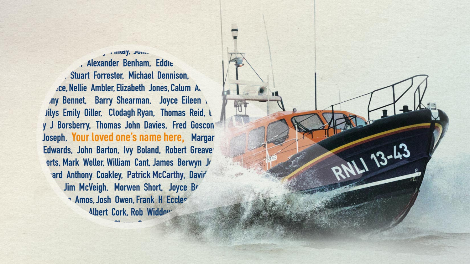 RNLI lifeboat on the water with Launch a Memory decals