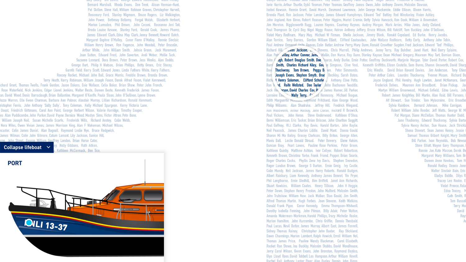 Screenshot of the searchable decal with boat and names
