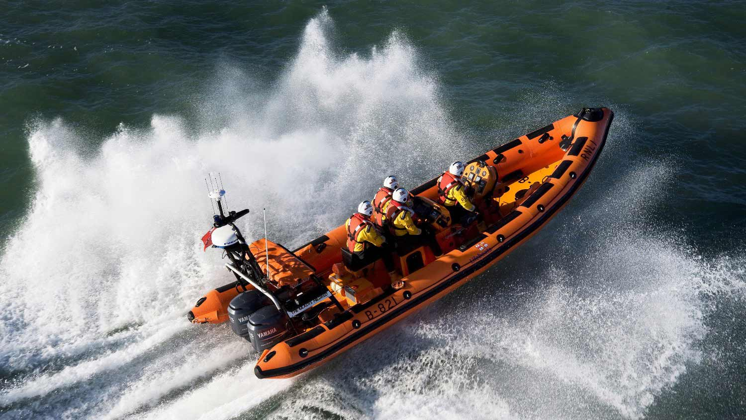 Newquay lifeboat volunteers onboard their B class Atlantic 85 lifeboat, The Gladys Mildred B-821