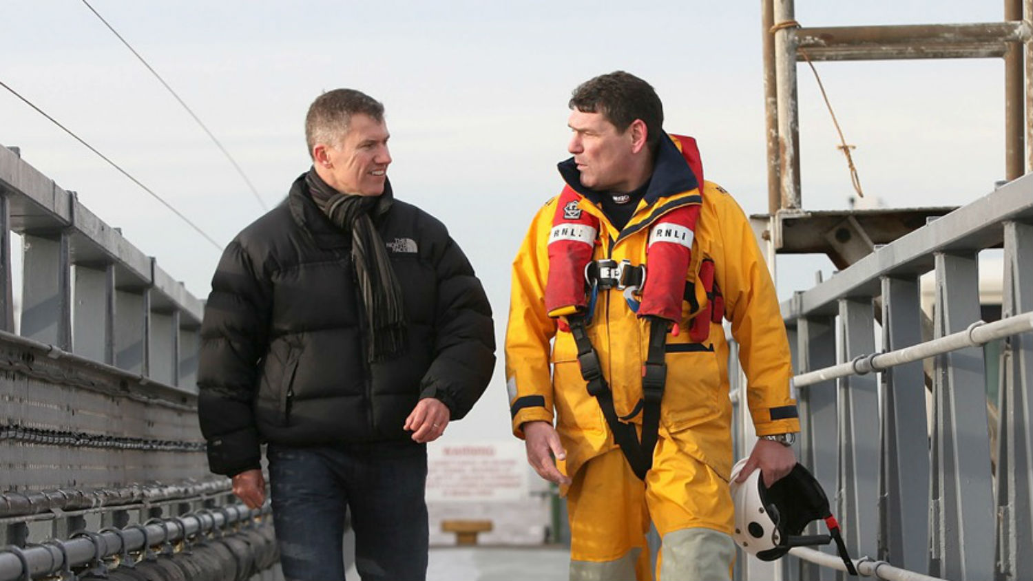 Chris Pilling, Yorkshire Building Society CEO with Dave Steenvoorden, Supetrintendent Coxswain at RNLI Humber