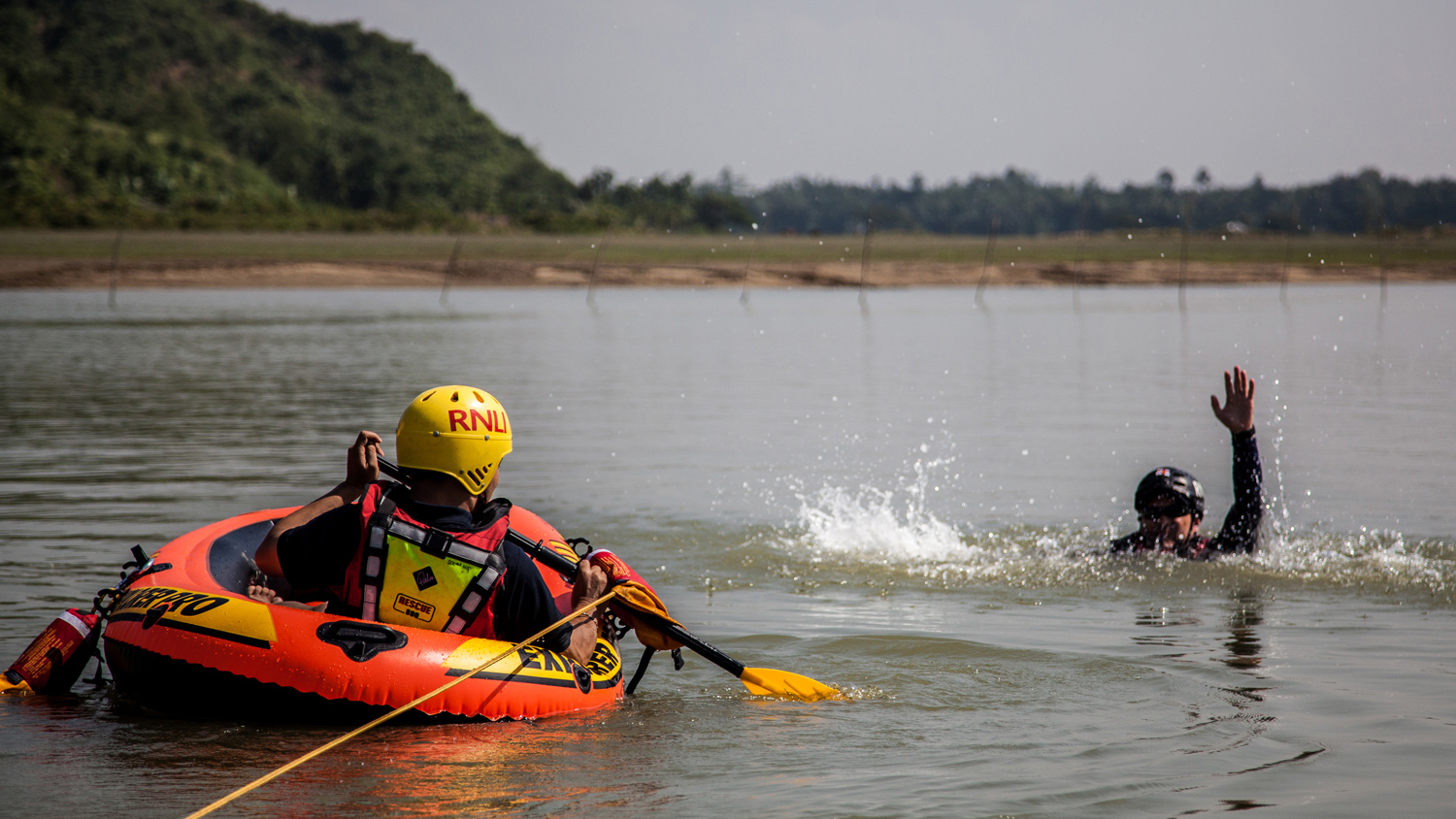 A flood rescue training session on a river in Bangladesh