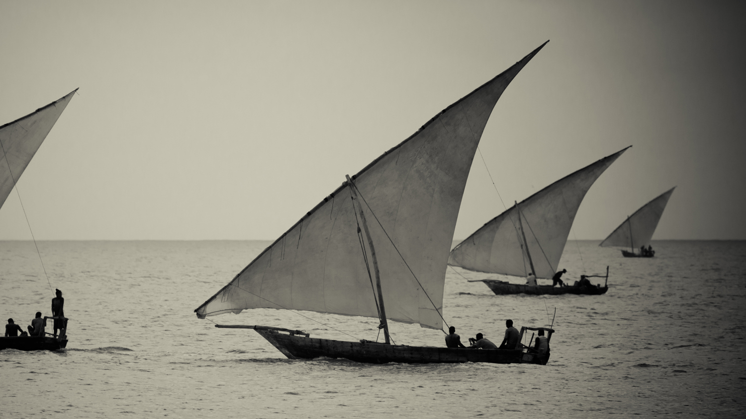 Dhow fishing boats in Zanzibar