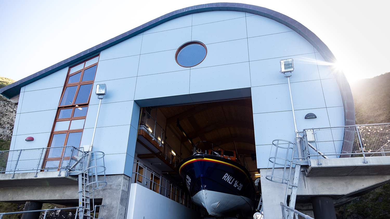 Lizard tamar class lifeboat inside the new boathouse