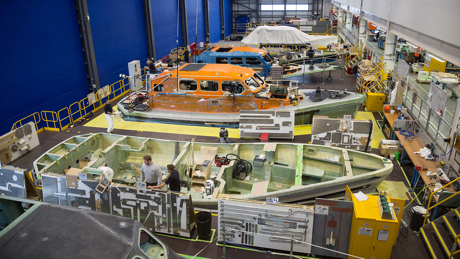 Inside the manufacturing boat hall of our All-weather Lifeboat Centre
