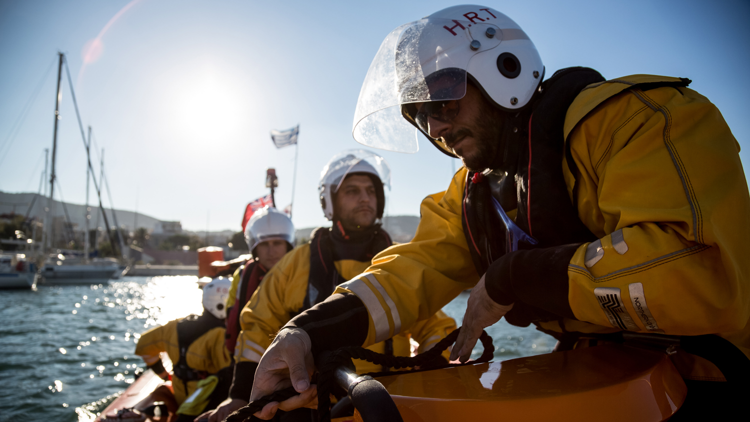 Hellenic Rescue Team crew onboard their inshore lifeboat