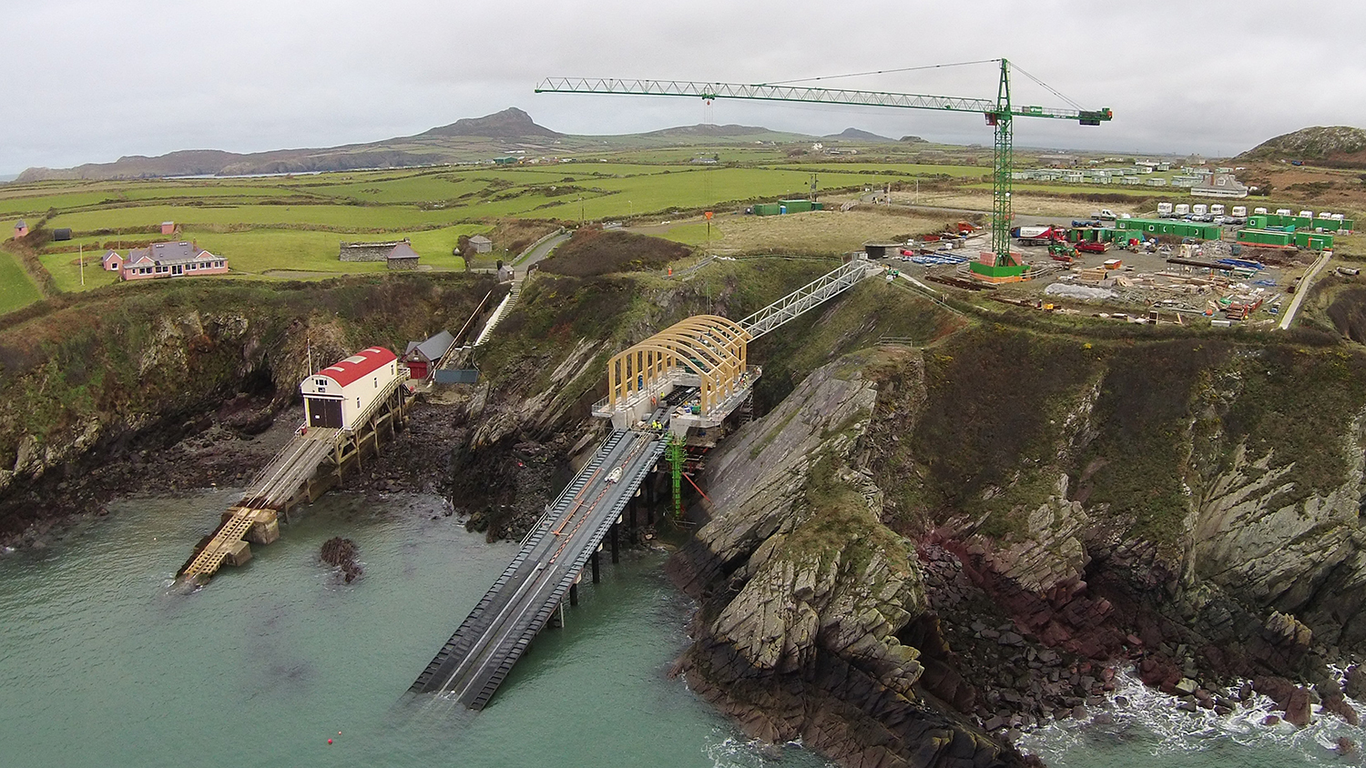 Aerial view of the old and new lifeboat stations at St Davids
