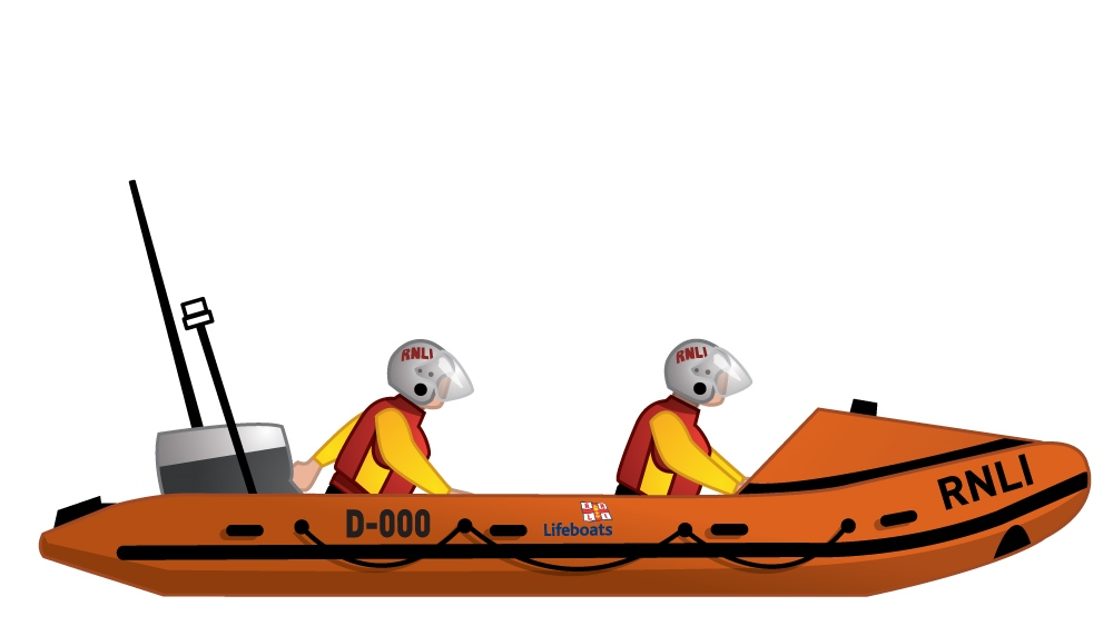Illustration of the RNLI D class inshore lifeboat