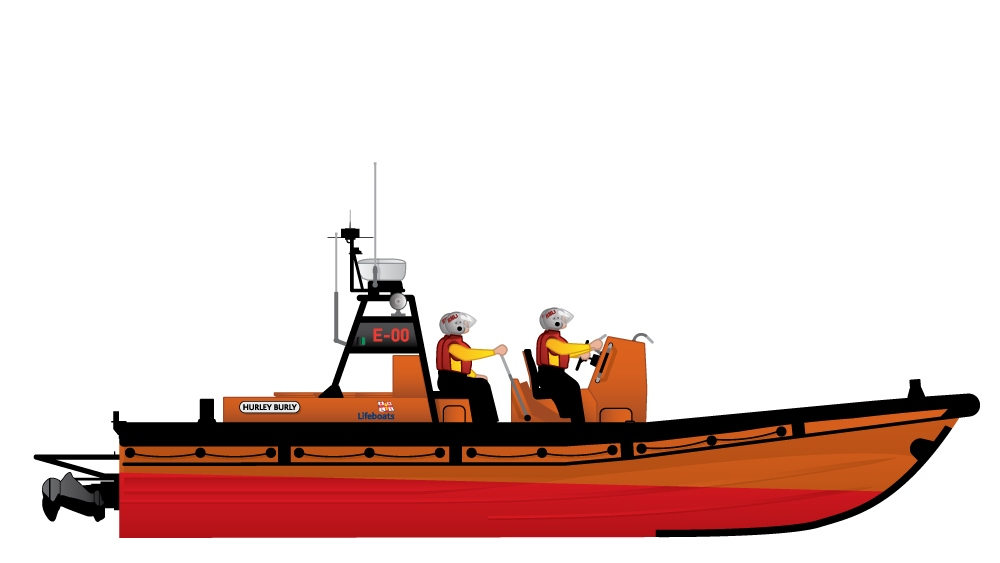 Illustration of the RNLI E class inshore lifeboat