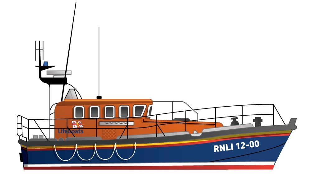 Illustration of the RNLI Mersey class all-weather lifeboat