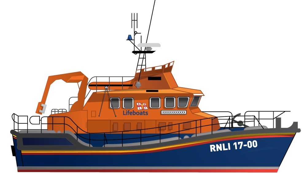 Illustration of the RNLI Tamar class all-weather lifeboat