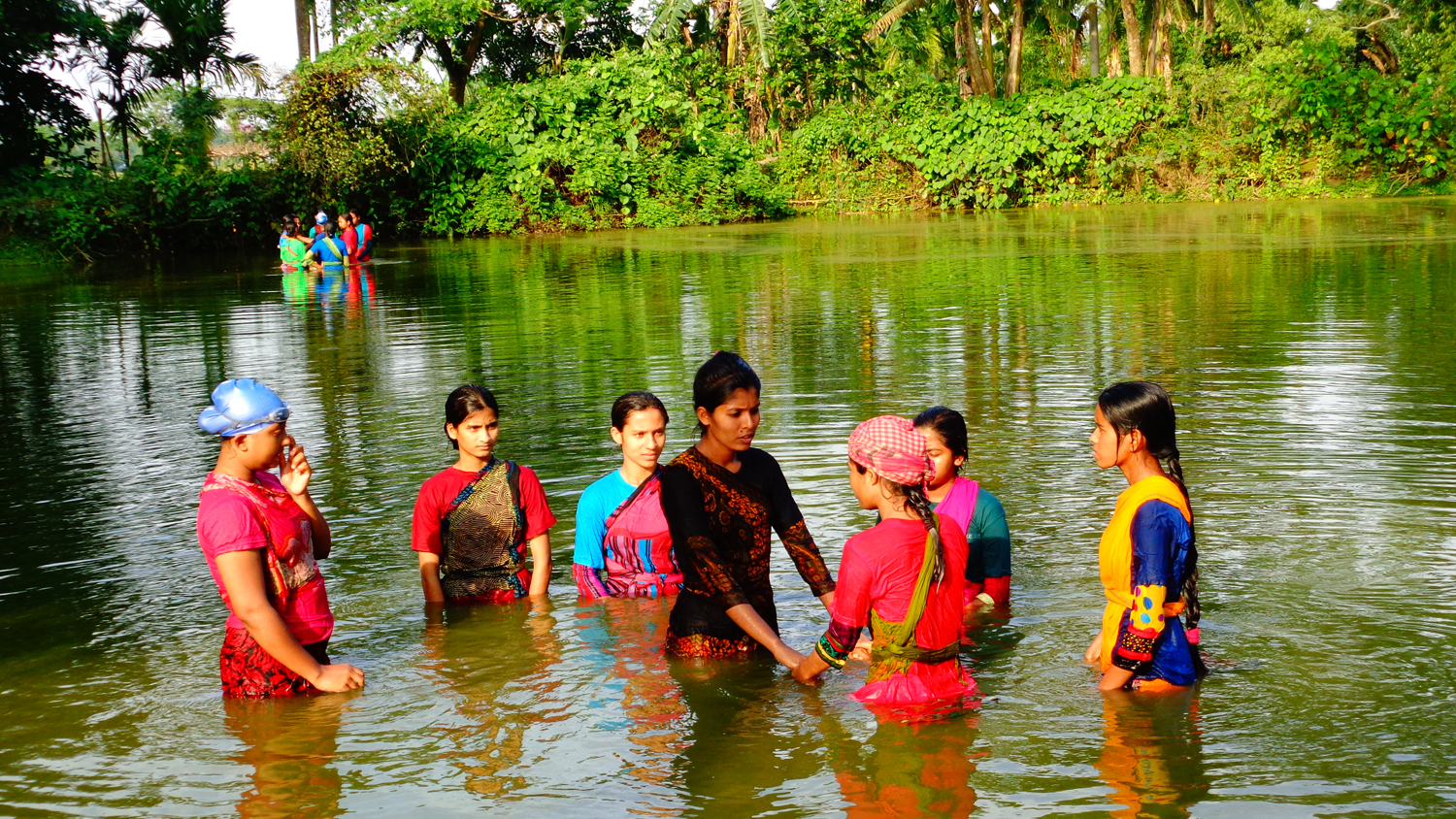 SwimSafe instructor training in a pond in Bangladesh