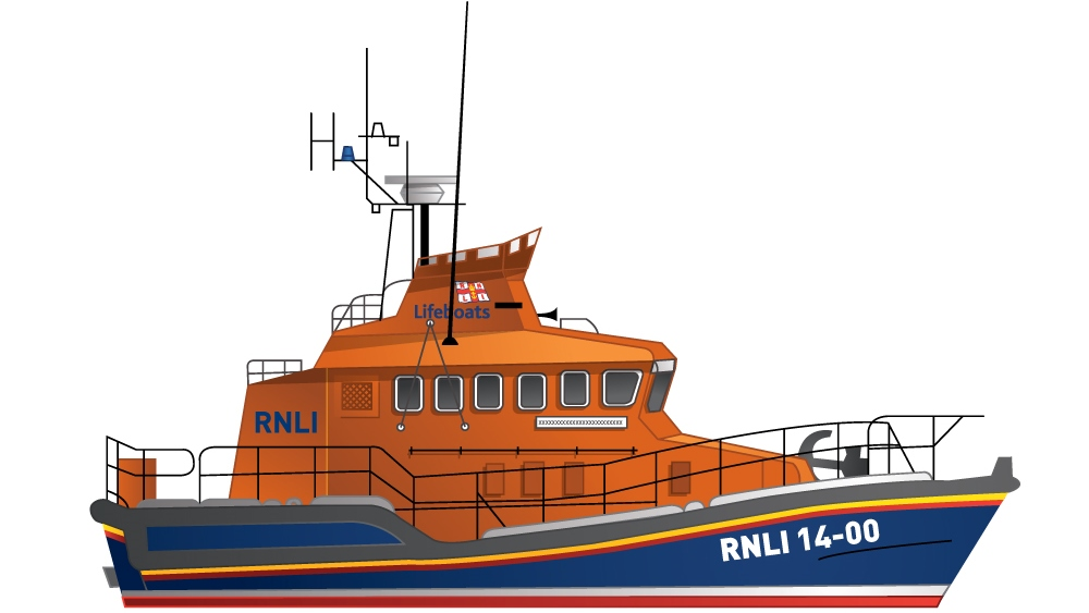 Illustration of the RNLI Trent class all-weather lifeboat