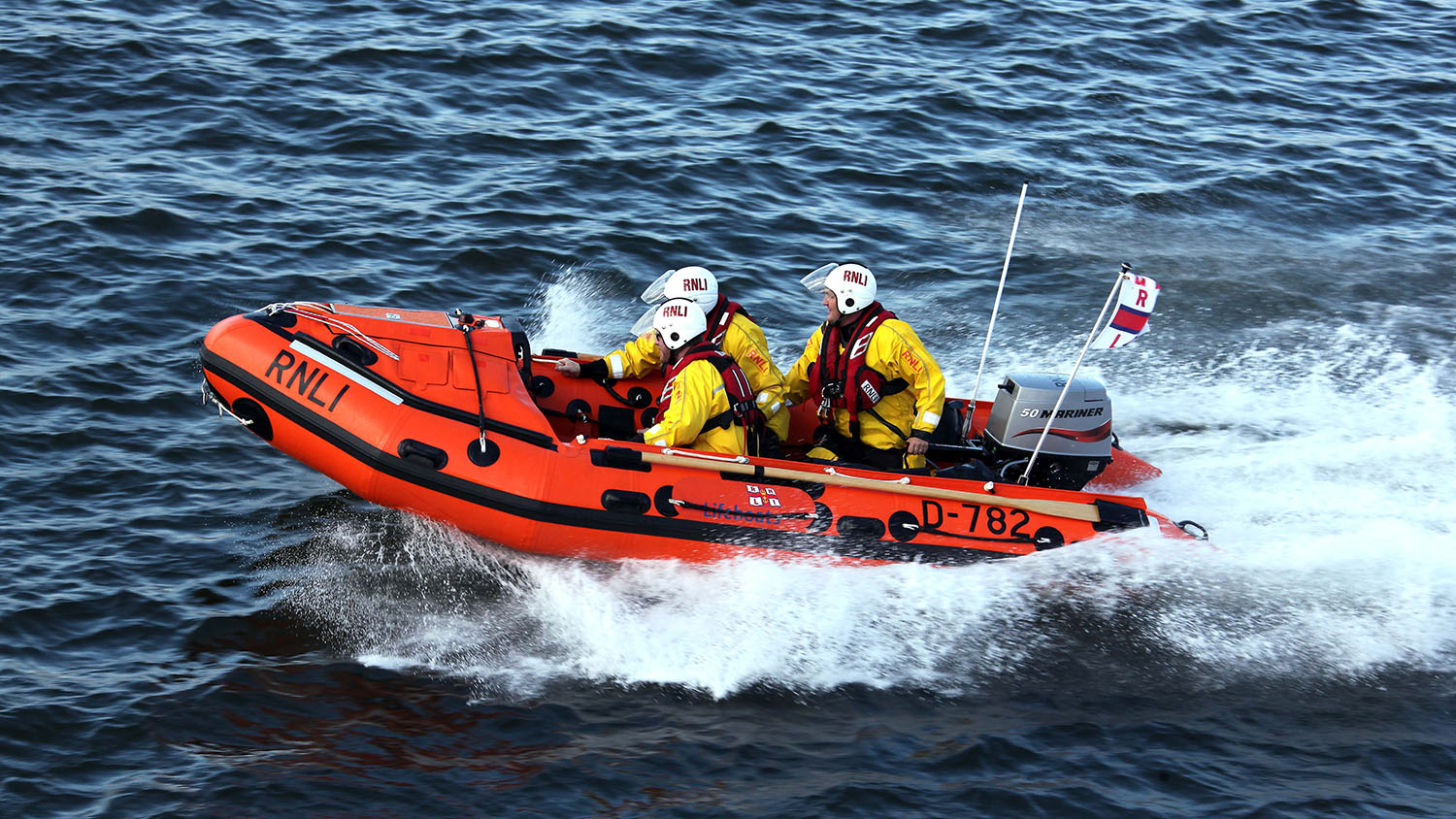 Wexford D class inshore lifeboat Alfred William Newman D-782 speeding through the water