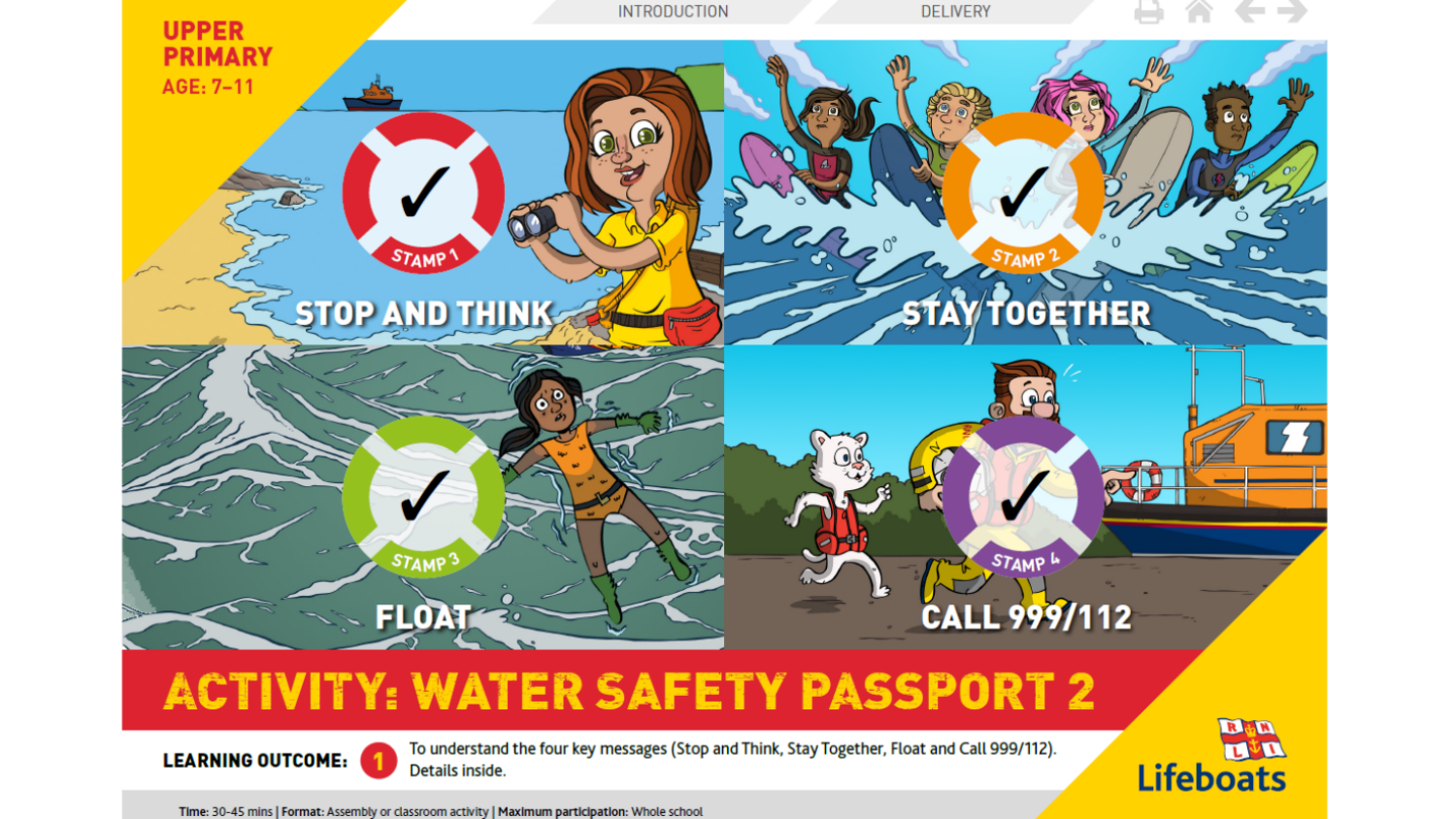 Illustrated water safety scenes