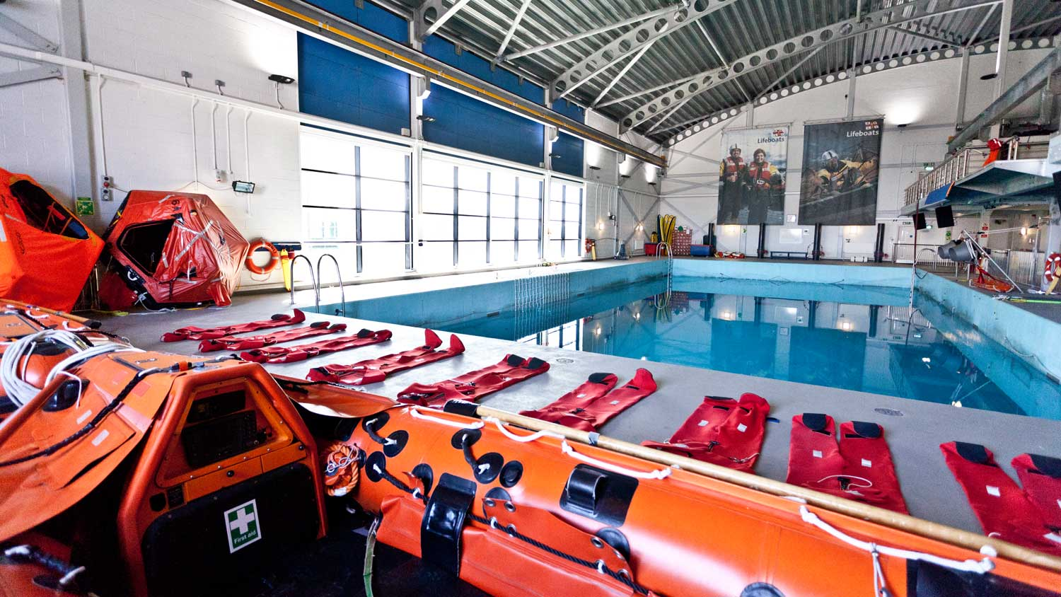 Sea survival pool at RNLI College, Poole.