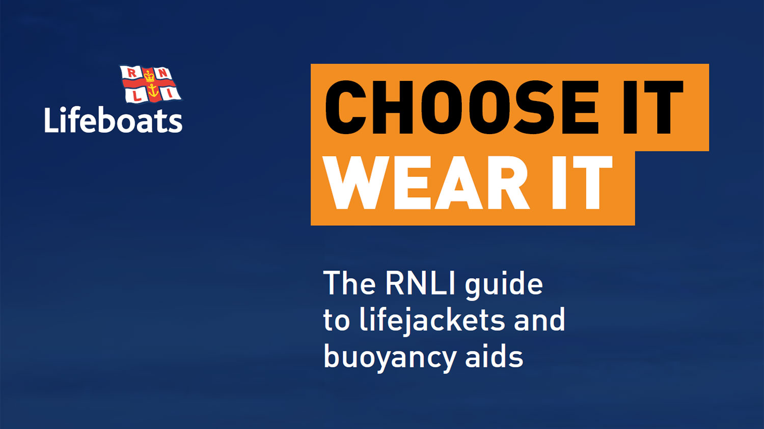 Cover of the Choose it wear it: RNLI guide to lifejackets and buoyancy aids
