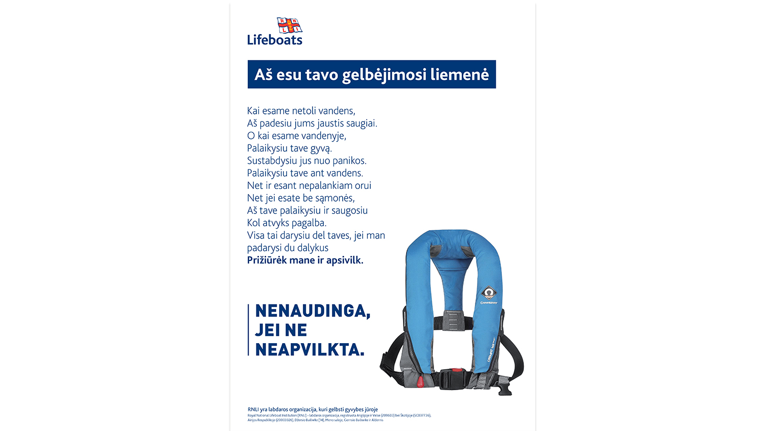 Wear Your Lifejacket - Lithuanian