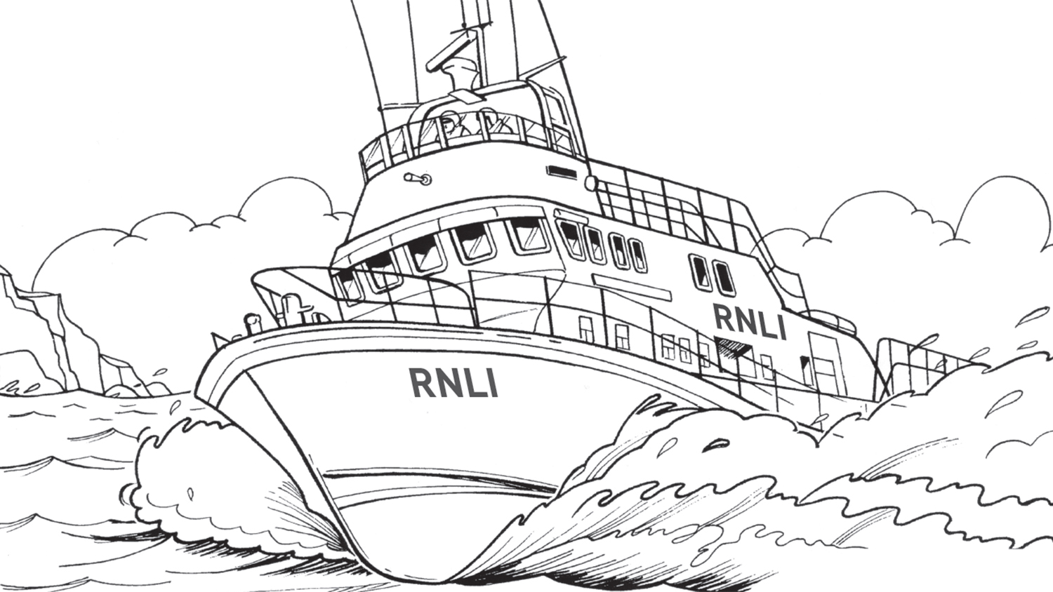 RNLI Severn lifeboat line drawing