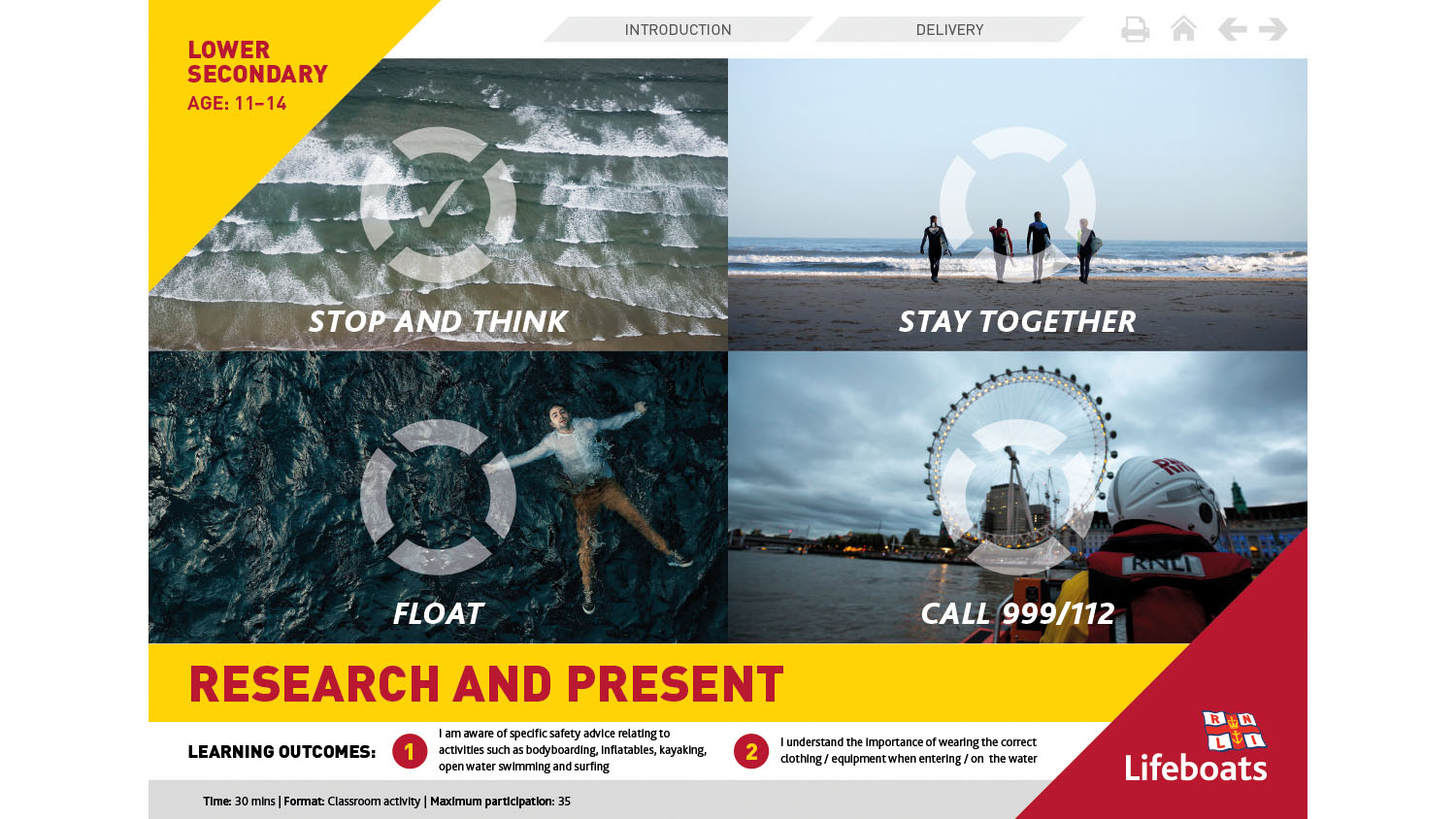 RNLI Research And Present activity slides