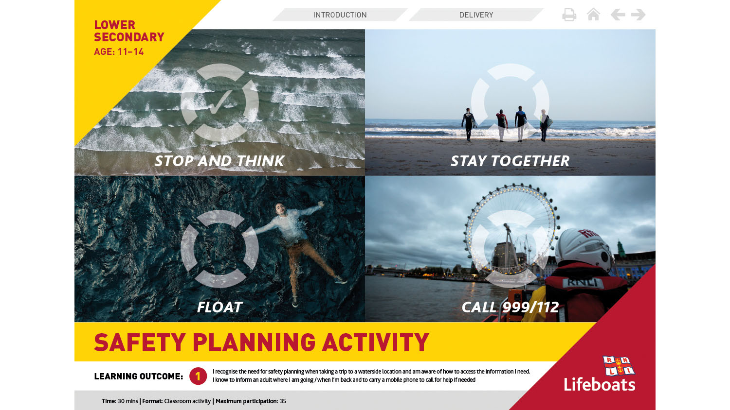 RNLI Safety Planning activity slides