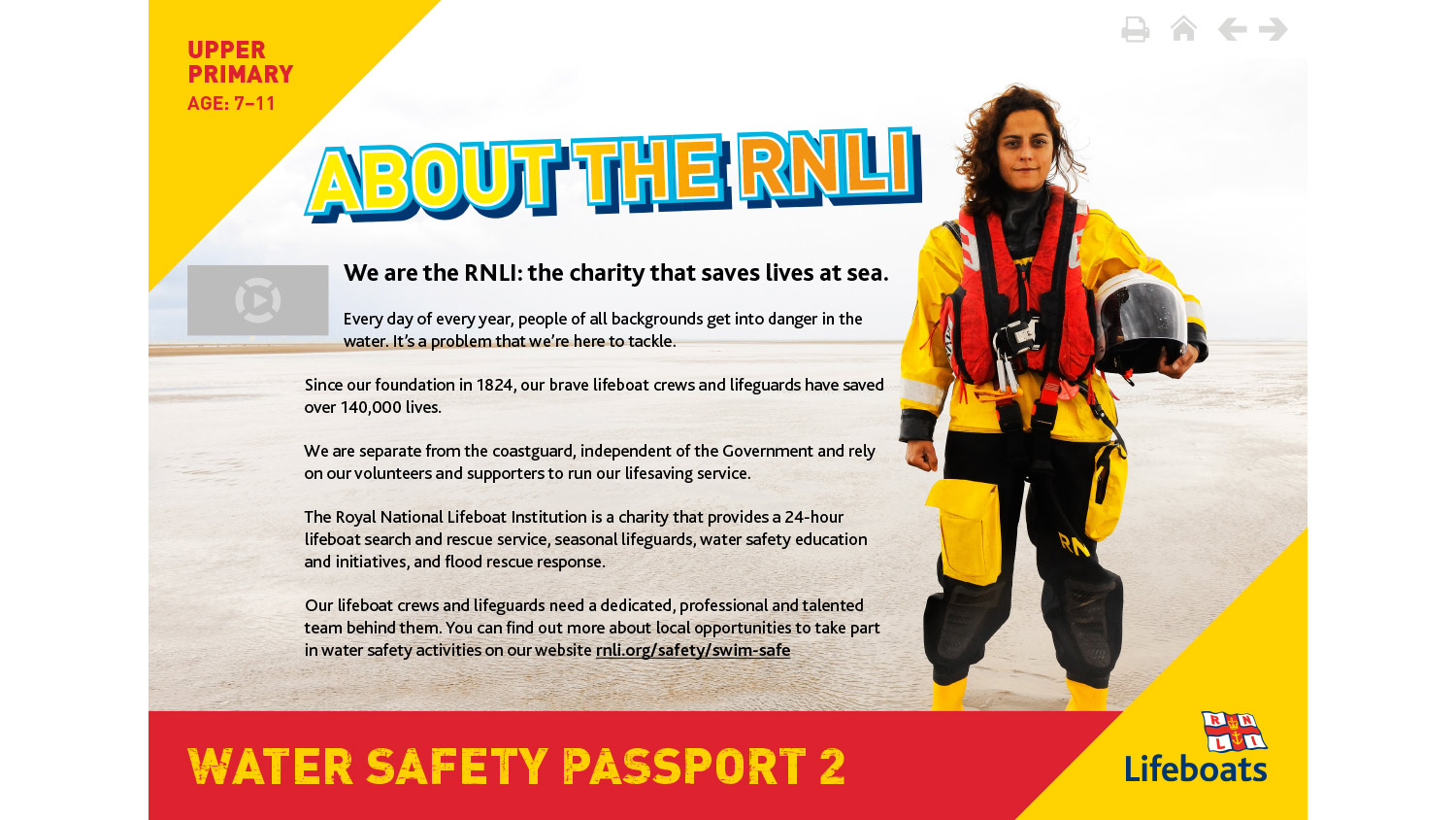 RNLI Water Safety Passport 2 activity slides