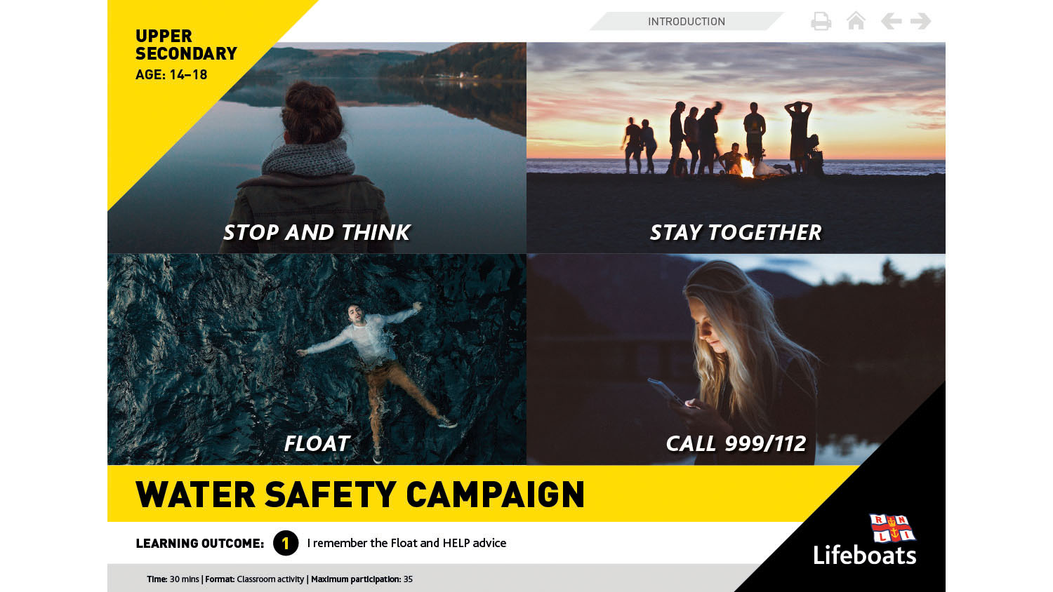 RNLI Water Safety Campaign activity slides